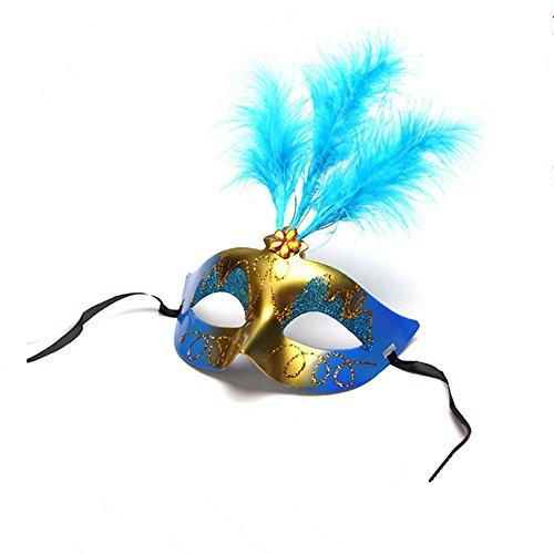 Blanketswarm Venezianische Colombina Eyemask mit Farbigen Federn für Frauen Party Abend Ball, Masquerade Hälfte Kostüm Maske für Mardi Gras Halloween, 6Pack, zufällige Farbe (Masken Gras Feather Mardi)