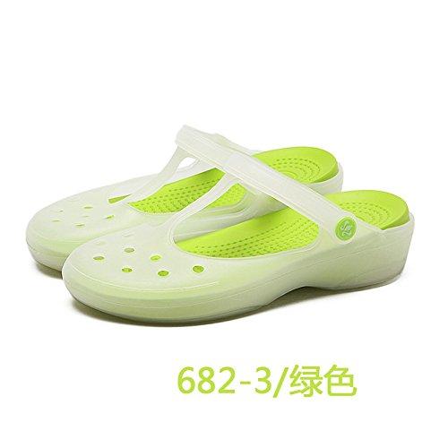 ZYUSHIZ Frau Hat ein Loch Sandalen die Verfärbung, flache Unterseite Strand Hausschuhe Rutschhemmend Grün