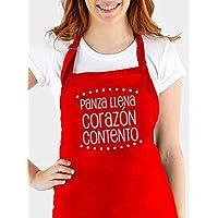 """Delantal cocina personalizado .con la frase:""""Panza llena corazón contento"""". Varios colores a elegir. Regalo/Bodas/San Valentín/Cumpleaños/Ella/Aniversario/EL"""
