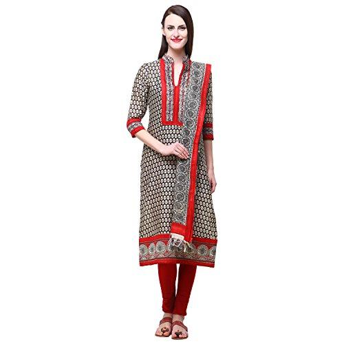Vastrangna Black Cotton Silk Semi-Patiala Salwar Kameez Fabric With Chunni For Women