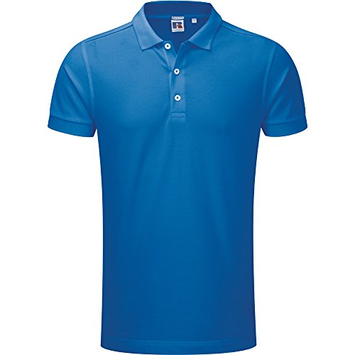Russell Unisex Stretch Polo Shirt Blue (Polo Cotton Herringbone)