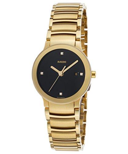 Rado R30528713Damen-Centrix Diamant goldfarbene SS Schwarz Zifferblatt goldfarbene SS Armbanduhr