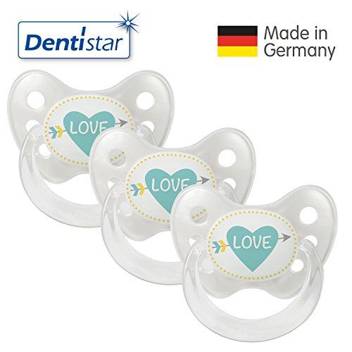 Dentistar® Schnuller 3er Set- Nuckel Silikon in Größe 2, 6-14 Monate - zahnfreundlich & kiefergerecht - Beruhigungssauger für Babys - Perle Herz