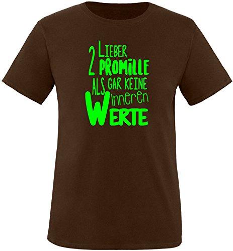 Luckja Lieber 2 Promille als gar keine inneren Werte Herren Rundhals T-Shirt Braun/Neongruen