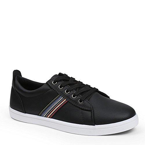 Ideal Shoes–Sneaker Herren mit Detail auf der Seite Carl Schwarz - Schwarz