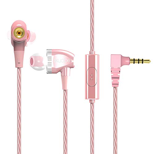 Yowablo HiFi Kopfhörer Dual Dynamic Driver Kopfhörer Super Bass Stereo Headset mit Mikrofon ( Rosa )