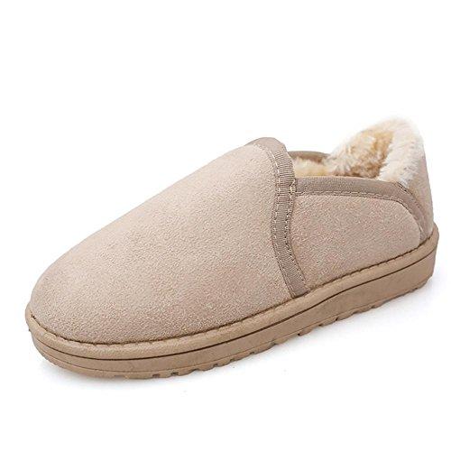SHANGXIAN Inverno Inverno Inverno Boots Stivali Pelliccia Poca acqua bassa per aiutare le scarpe pigre Beige