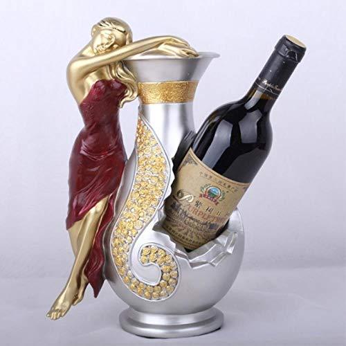 Resina Wine Girl Wine Rack Mejor portabotellas Accesorios de soporte para vino diosa egipcia Home Bar Decor Wine Holder Gift  Nombre del producto: European belle wine rack  Material del producto: resina natural  Tamaño del producto: longitud 24CM, an...