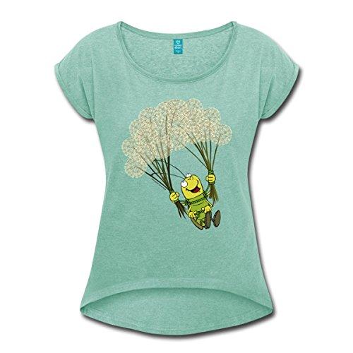 Spreadshirt Grashüpfer Georg der Flieger Frauen T-Shirt mit Gerollten Ärmeln, M, Minze Meliert
