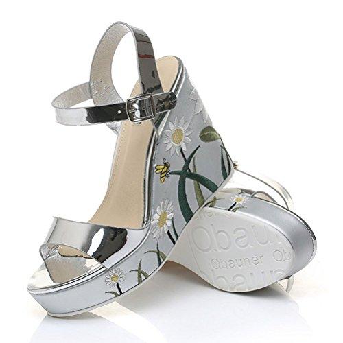 Sommer Damen Sandalen Plateau Weite Band Blumenabsatz Keilabsatz Römische Schuhe Weiß