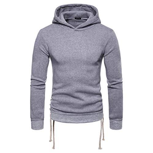 CICIYONER Herren Top Bluse, Herren' Herbst Winter Solide Lange Ärmel Bandage Kapuzenpullover zur Seite Fahren Outwear Oberteile
