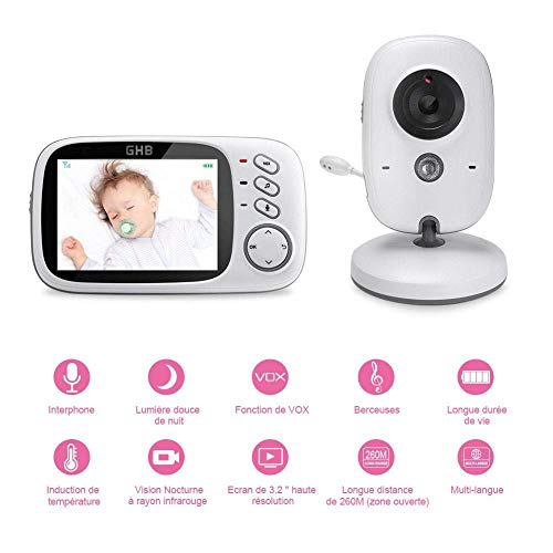 """YUN CAMERA@ Vigilabebés Inalambrico Bebé Monitor Inteligente con LCD 3.2"""" Cámara Visión Nocturna,Visión Nocturna,Audio Bidireccional,Modelo VB603"""