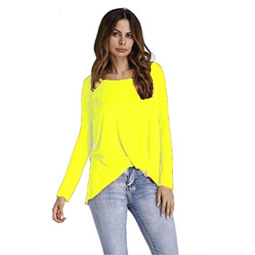 NiSeng Donna Moda Maniche Lunghe T-Shirt Sciolto Maglietta Maglie Girocollo Camicie Blouse Tops Giallo