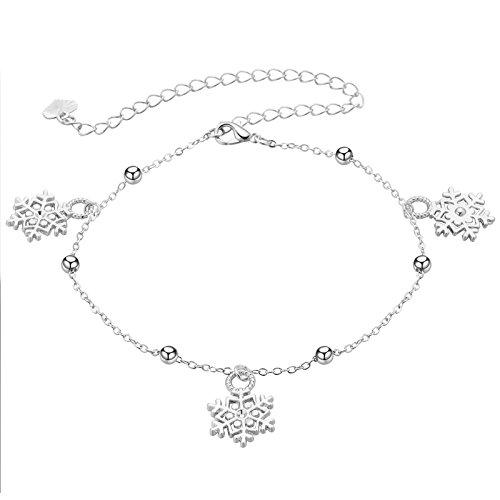 Bishilin Versilbert Damen Fußkette Boho mit Anhänger Schneeflocken Stand Fuß Kette Silber Knöchelkette