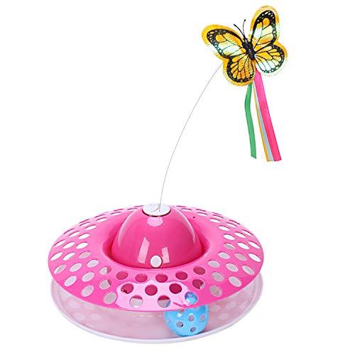 TOOGOO 1 Stück Platten Spieler Ball Haustier Katzen Spiel Katzen Spielzeug Elektrische Rotierenden Schmetterling Fliegen Stahl Draht Haustier Interaktive Spielzeug für Katzen Rosa