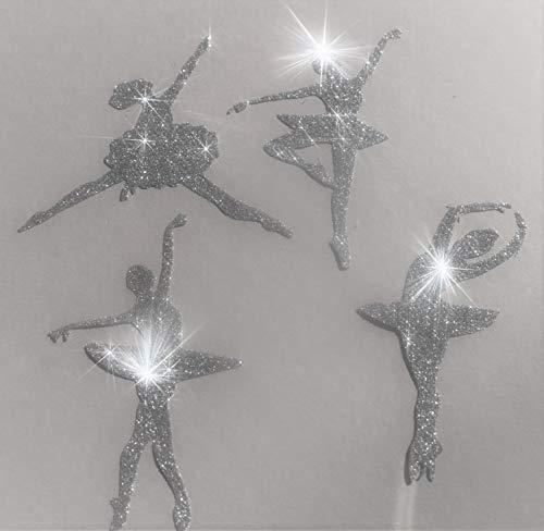 SAFIRMES 4 Danseuses 8.5 cm Transfert thermocollant hotfix Glitter Couleur Argent