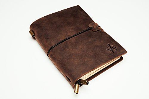 Taschennotizbuch Leder | Kleines, Nachfüllbares Reisejournal | Reisepassgröße, Perfekt zum Schreiben, für Reisende, Berufstätige, als Tagebuch oder Organizer | Leather Pocket Journal | 12,5x9cm