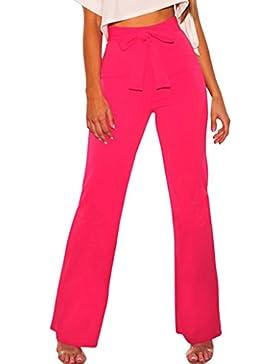 Smalltile Mujer Casual Cintura Alta Largos Pantalón Moda Básico Vendajes Pantalones Anchos