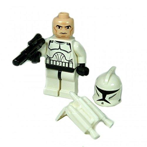 ifigur weiss bedruckt Jetpack Waffe Clone Trooper mit Clone Kopf 7748 ()