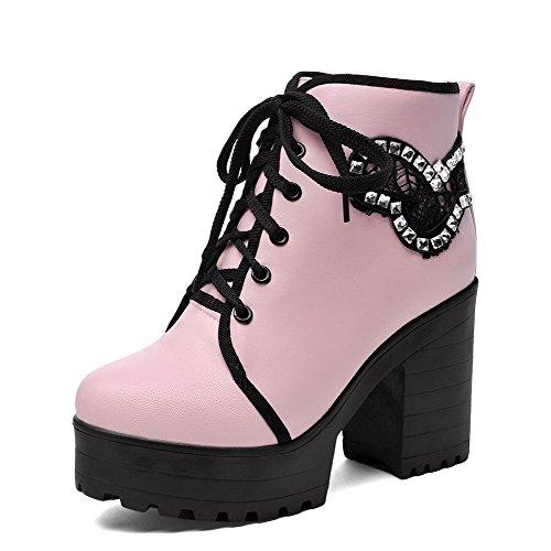 VogueZone009 Damen Reißverschluss PU Leder Hoher Absatz Rund Zehe Stiefel, Pink, 37