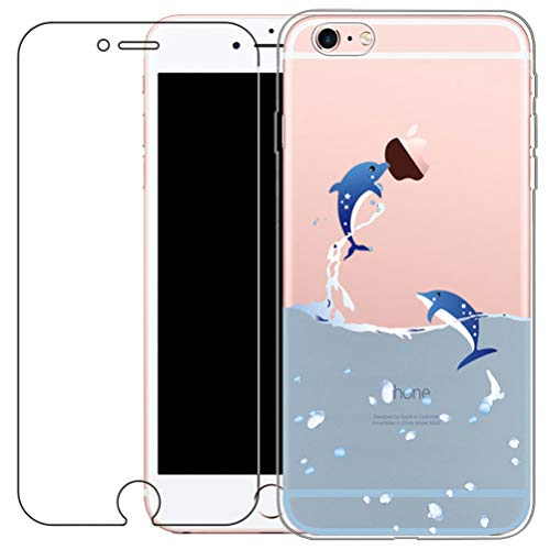 iPhone 6 / 6S Case with Tempered Glass Screen Protector, Blossom01 Ultra Thin Soft Gel TPU Silicone Case Cover with Cute Cartoon for Apple iPhone 6 / 6S - Dolphin