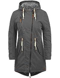 DESIRES Lew Damen Parka Lange Jacke Winter-Mantel mit Kapuze aus  Hochwertiger Baumwollmischung 5b930e7cae