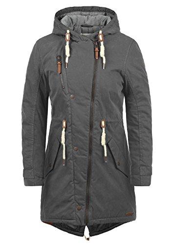 DESIRES Lew Damen Parka lange Jacke Winter-Mantel mit Kapuze aus hochwertiger Baumwollmischung, Größe:L, Farbe:Dark Grey (2890)