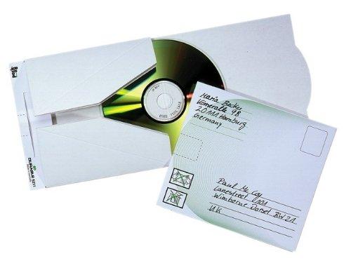 Durable 521102 CD/DVD Versandtasche MAIL, für 1 CD, Packung à 5 Stück, weiß