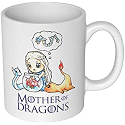 getDigital 12860 Mother of Dragons Taza/taza para Pokemon y Game of Thrones Fans, cerámica, blanco, 10 x 10 x 10 cm