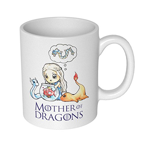 getDigital 12860 Mother of Dragons Becher/Tasse für Pokemon und Game of Thrones Fans, Keramik, weiß, 10 x 10 x 10 cm