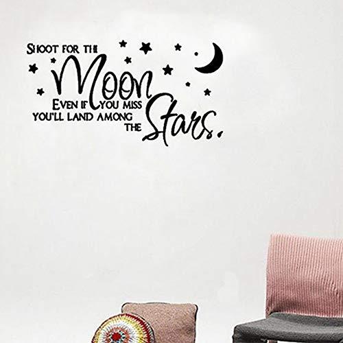 Schießen Sie für den Mond, auch wenn Sie vermissen, dass Sie unter den Sternen Zitat-Wand-Dekorations-Aufkleber für süße Mädchen Rom a6 82 * 44cm landen - Süße Zunge Ringe