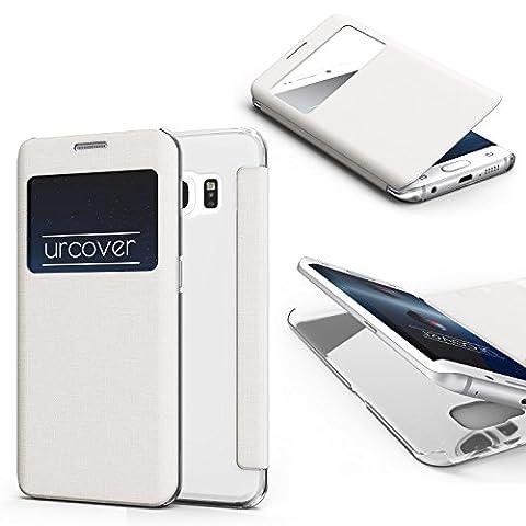 URCOVER Coque Protection Avec Arrière Transparent View Case | Cover avec Fenêtre pour Samsung Galaxy S6 Edge | Housse Rigide blanc | Étui Pochette Portefeuille Rabat Protection Ecran