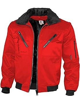 Qualitex-Chaqueta de piloto con cuello alto y mangas presión, varios colores - rosso Talla:Small