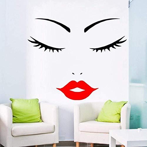 Frauengesicht Frauengesicht Wimpern Rote Lippen Wandaufkleber Wimpern Download Wimpern Silhouette Dunkelrote Lippen 57 * 47Cm