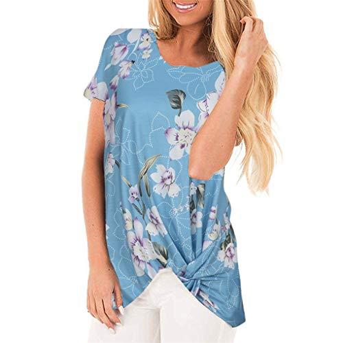 T- Shirt Für Damen, Dorical Frauen Sommer BeiläUfige Blumendruck Rundkragen Kurze Ärmel Knot Bluse,Kurzarmshirts,Lose Short Sleeve Elegant T-Shirt S-XXL Ausverkauf(Blau-1,X-Large)