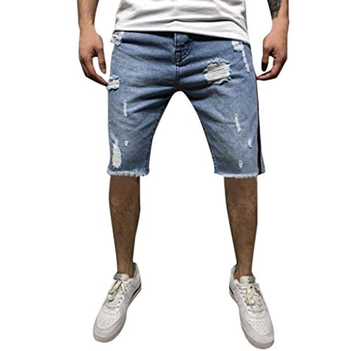ZHANSANFM Herren Jeans Shorts Loch Bermuda Straight-Cut Kurze Jeanshose mit Elastischem Shredded Denim Short Jeanshorts Mode Retro Freizeithose Regular Fit Elegant (S, Hellblau)