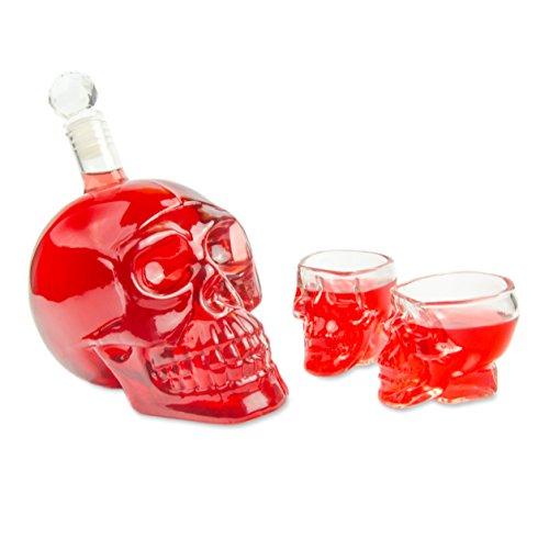 Set con bottiglia e bicchieri a forma di teschio, in vetro, 1, 550 ml Flasche mit 2 Mal Glas Variante 1, 550 ml