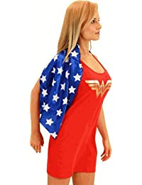 DC Comics Wonder Woman Red & Blue Costume Tank Dress with Attachable Cape (Wonder Woman) (Juniors Large)