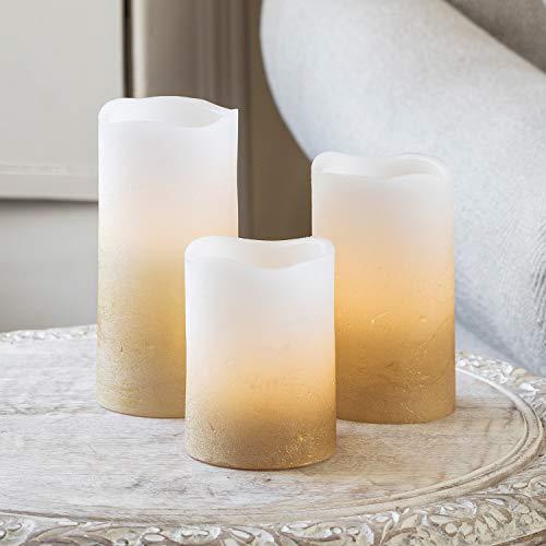 3er Set LED Echtwachs Kerzen warmweiß flackernd gold Timer batteriebetrieben Lights4fun