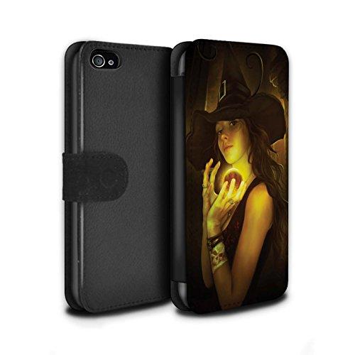 Officiel Elena Dudina Coque/Etui/Housse Cuir PU Case/Cover pour Apple iPhone 4/4S / Somnambule/Insomnie Design / Magie Noire Collection Orbe/Sorcellerie
