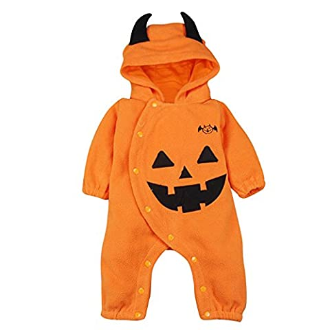 Infant Costumes Boy Halloween 0 3 Mois - Le SSara Halloween citrouille Jumpsuit Hooded Noël barboteuse tenues (0-6