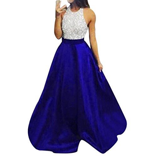 Damen Kleider,Beikoard Frauen Formalen Prom Partei Ball Kleid 'Nabend Braut Halfter Lange Kleider Sexy Flash-Chip Hängender Hals Kleid Abendkleid (S, BU) (Abendkleid Kleid Formalen)