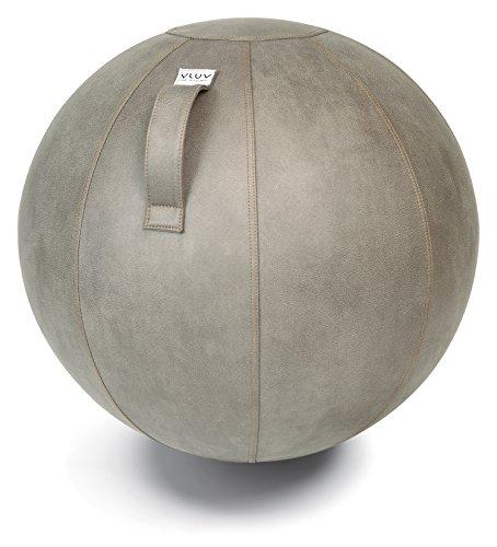 VLUV VEEL Sitzball, ergonomisches Sitzmöbel für Büro und Zuhause, Farbe: Schlamm (Mittelgrau antik), Ø 60cm - 65cm, Bezug aus Mikrofaser-Kunstleder, robust und formstabil, mit Tragegriff