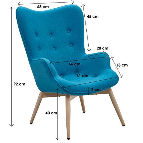 Designer Ohren-Sessel petrol mit Armlehnen aus Wolle blau | Anjo | Blauer Club-Sessel im Retro-Design mit Gestell in Holz | Moderner Wohnzimmer-Sessel auch als Relax-Sessel zu benutzen - 7