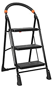 Parasnath Black Heavy Folding Ladder with Wide Steps Milano 3 Steps 3.1 Ft Ladder (Made in India)