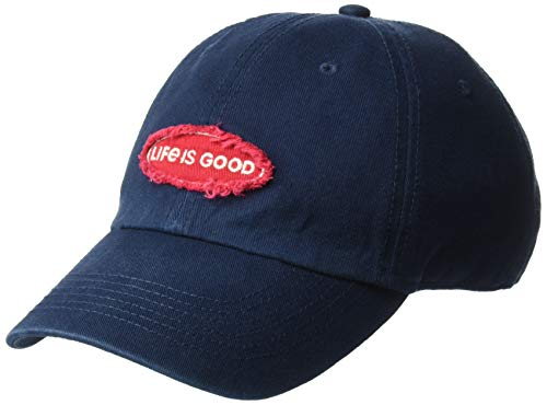 Life Is Good Tattered Chill Oval Applique, Darkest Blue, One Size