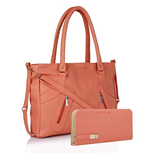 Flora Pu Leather Women's Handbag And Wallet Clutch Combo (Lbwp-2) (Peach)