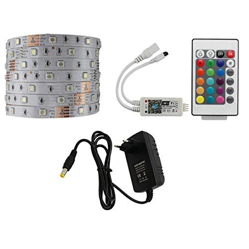 30 LEDs/m wasserdichtes LED-Streifenlicht-Set Smart Control RGB mit 24 Tasten Fernbedienung + Netzteil + WLAN-Steuerung