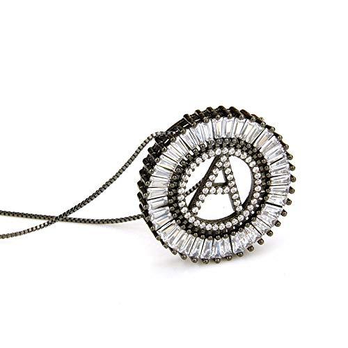 er Halskette, Zirkon Anhänger,Zirkonia Initial Halskette Anhänger Brief Neckalce Silber Hip Hop Schmuck Frauen Weiß Cz Alphabet Halskette ()