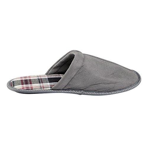 EGO Brooklyn Herren-Pantoffeln, Obermaterial Velourslederimitat, rutschfeste Sohle, weiches Tartan-Futter Grau